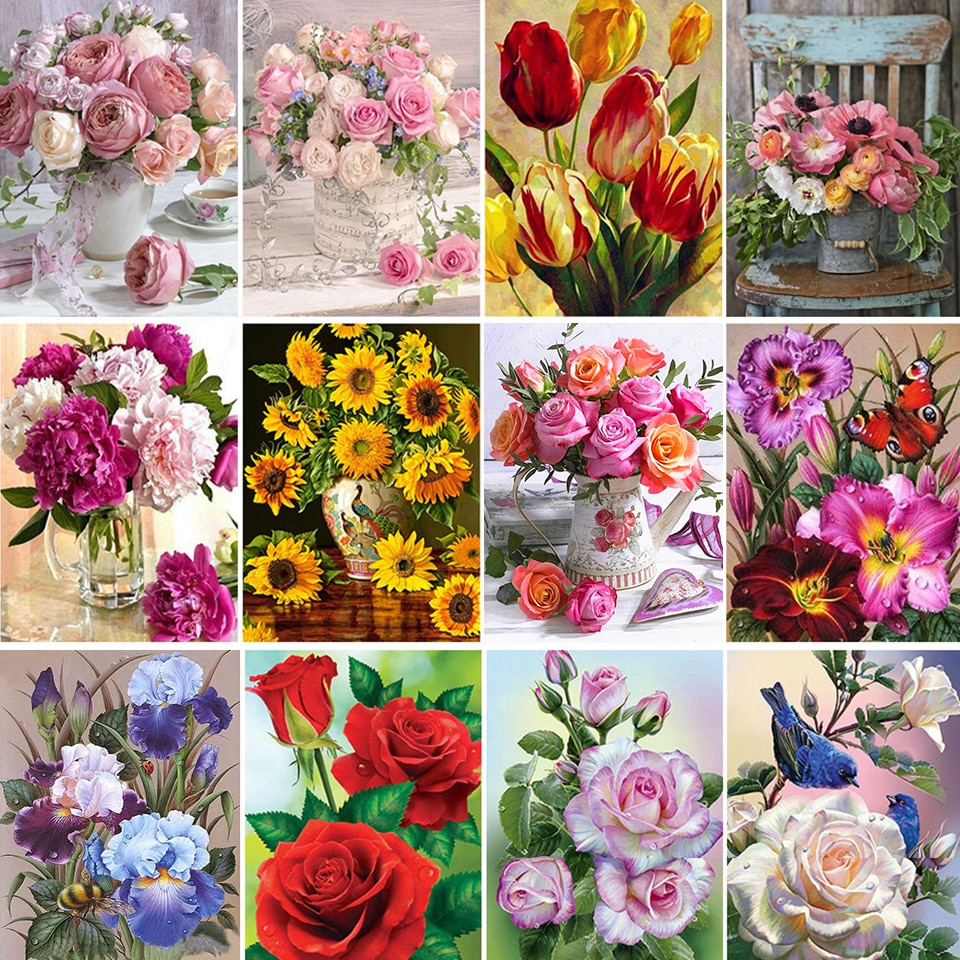 5D DIY Diamond Painting Flower Rose Vase Cross Stitch Kit Full Drill Embroidery Mosaic Art Picture With Rhinestones Decor Gift diy 5d diamond painting animal lion cat cross stitch kit full drill embroidery mosaic art picture of rhinestones home decor gift
