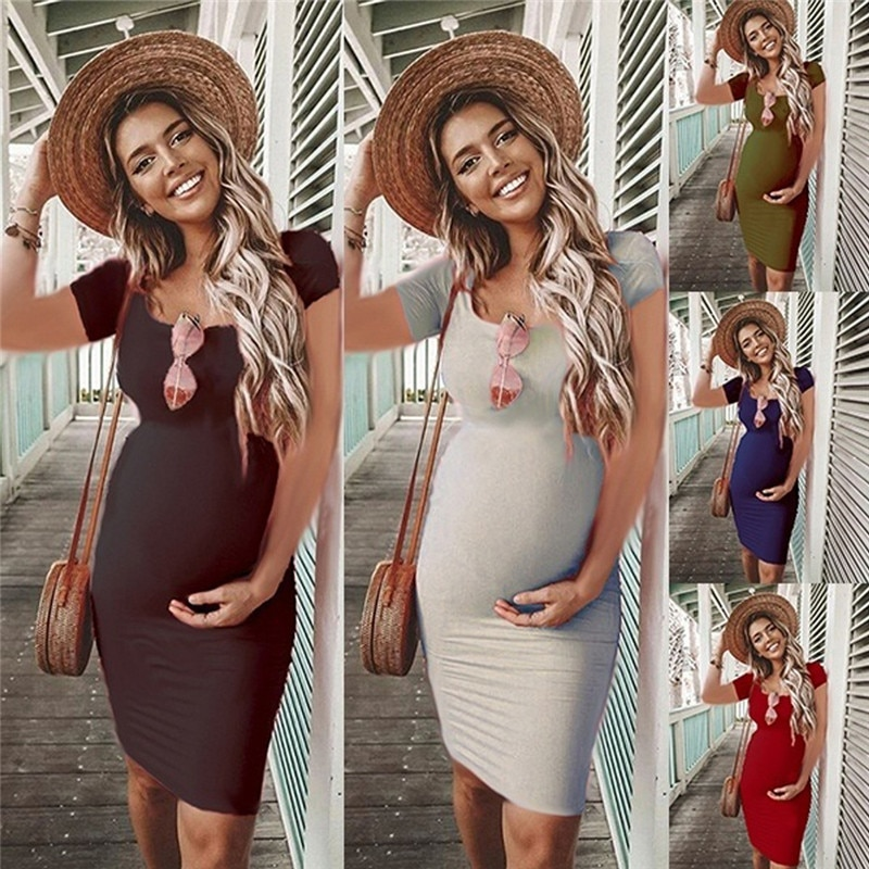 Maternity O-Neck Short Sleeve Dresses Clothes for Casual Pregnant Women Dress Vestidos Pregnancy Clothing Plus Size Solid Color summer pregnancy plus size dress elegant v neck sashes floral short sleeve maternity clothes for pregnant women dresses w013