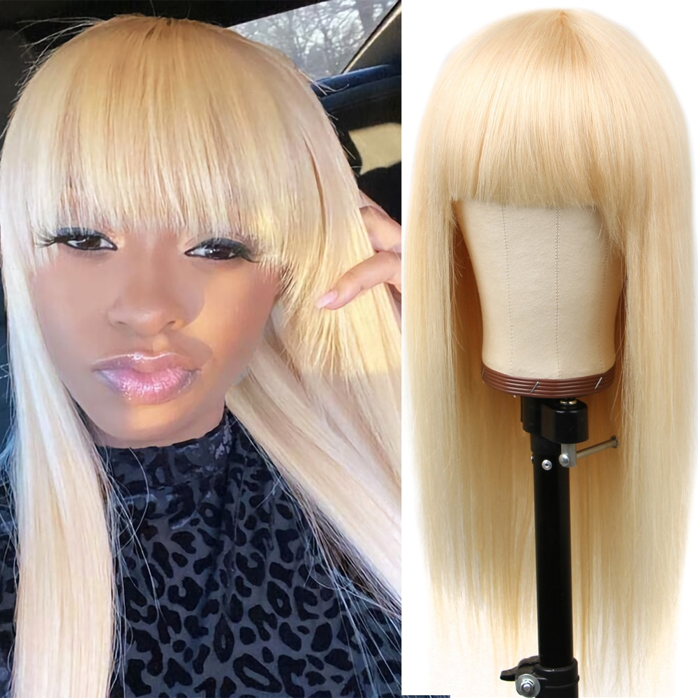 613 Blonde Brazilian Straight Human Wigs With Bangs Machine Made Wig 150% Remy Blonde Human Hair Wigs 8~26inch