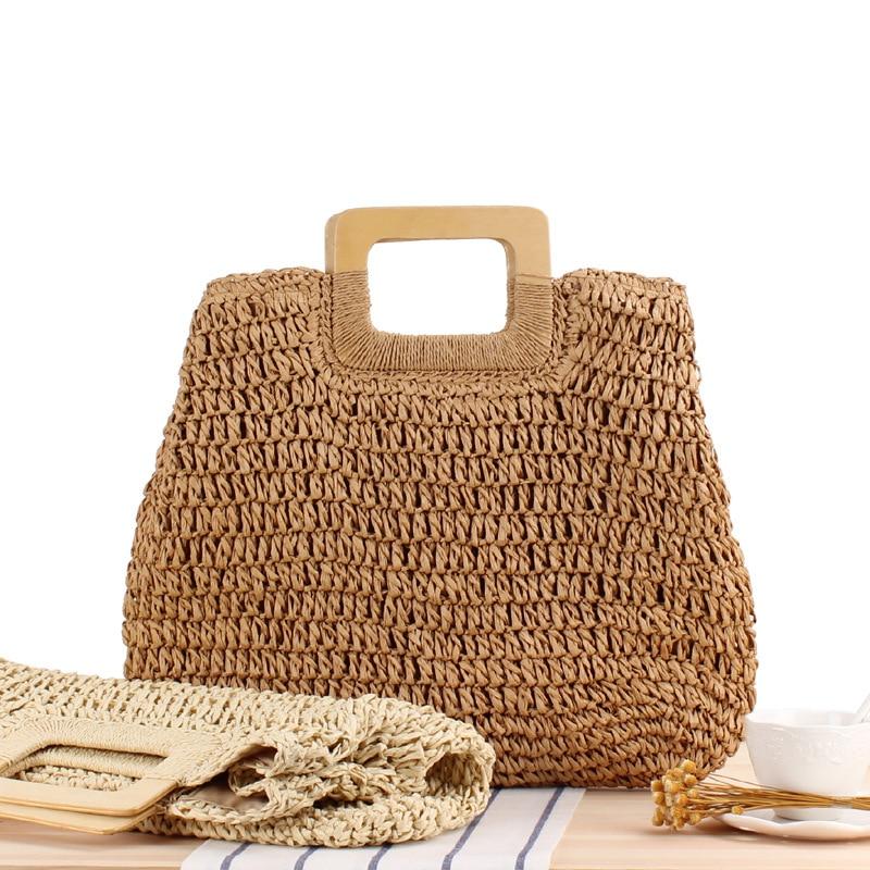 Женская плетеная пляжная сумочка в стиле ретро, портативная Соломенная пляжная сумка большой вместимости для отдыха на море, 2021