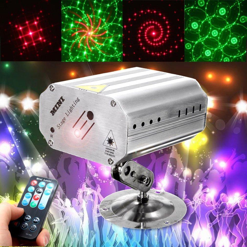 Luces de Fiesta Disco DJ de 24 modos Proyector láser activado de sonido Luz de escenario con Control remoto para pista de baile KTV Bar interior