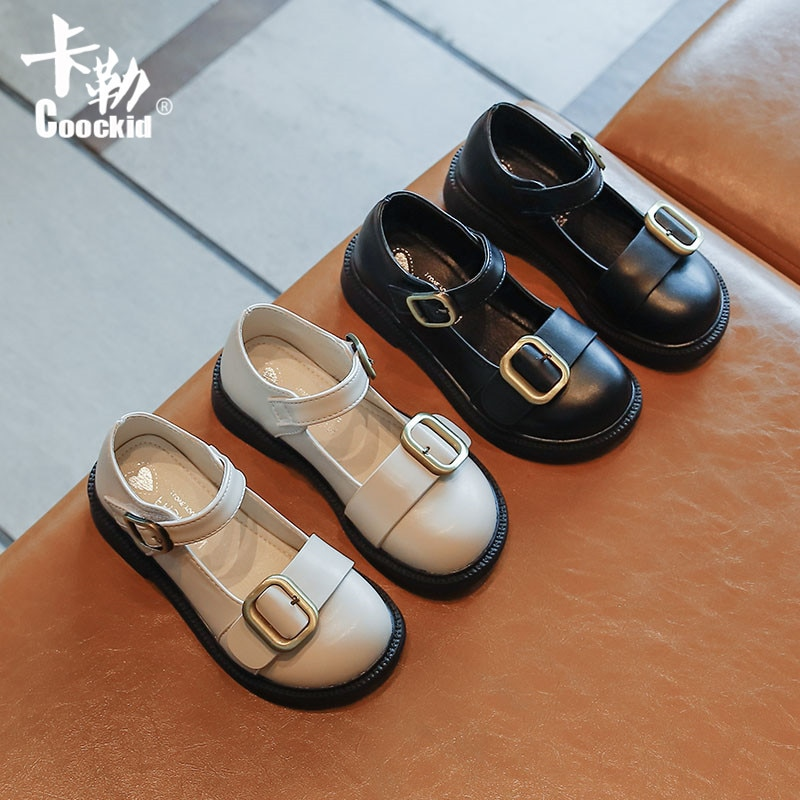 kids shoes 2020 new spring girls fashion genuine leather shoes princess party flats children black mary jane footwear flower Children's Leather Shoes 2021 New Kids British Style Buckle Princess Shoes Girls Casual Black Single Shoes Chic Flats Fashion