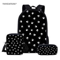 Twoheartsgirl Dog Paw School Bags Set for Boys Girls Student Children School Backpack Satchel Kids Book Bag mochila Customized