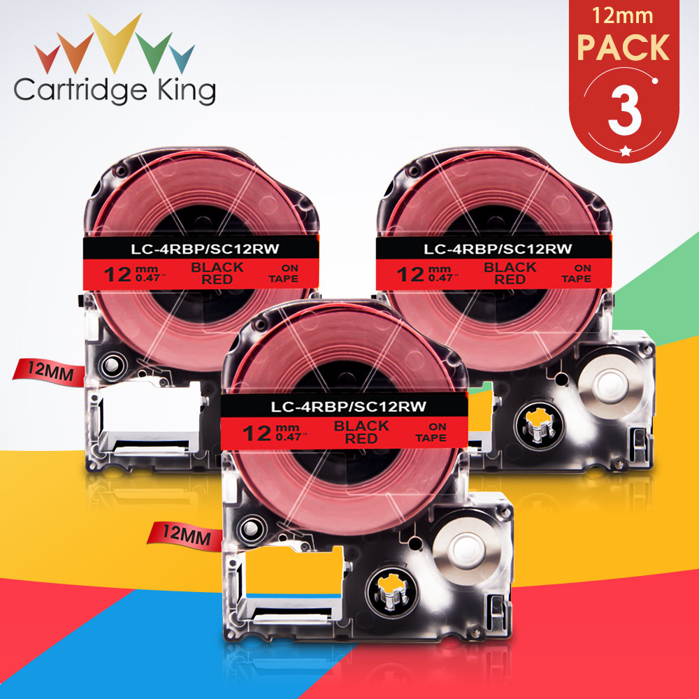 Compatível para Epson Trabalho para Epson Preto Vermelho Etiqueta Fita Sc12rw Lk-4rbp Fabricante Lw300 Lw400 Sr150 Lw-600p Impressão 3pk no 12mm