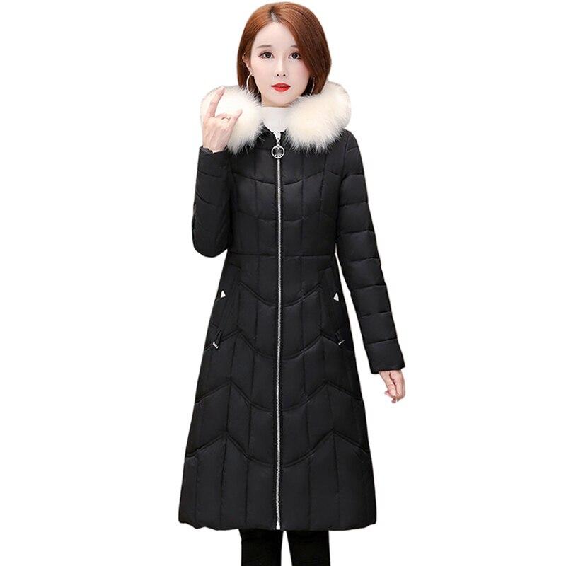 Chaqueta de Invierno para mujer 2019 otoño nuevo Casual espesar caliente moda mujer negro con capucha de manga larga Parkas abrigos