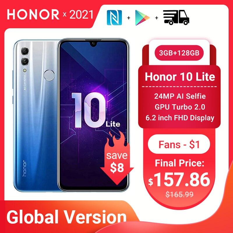 Глобальная версия Honor 10 Lite, 3 Гб оперативной памяти, 128GB смартфон Android 9,0 Octa Core 6,21 дюймов 24MP Камера Google Play для мобильного телефона