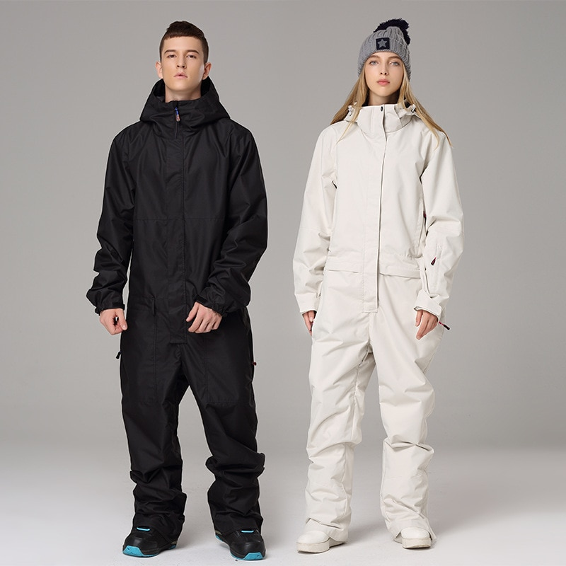 2020 Waterproof Hooded Men Skiing Jumpsuits Sport Women Snow Overalls Winter Outdoor Female Snowboarding Clothes Man Snow Suits