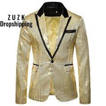 Nouveaux Hommes Marié Blazers Costume Paillettes Montrer Blazer Revers Manteau Mince Veste Hommes Vêtements De Mariage Top De Fête Blazer Grande Taille