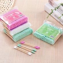 100pcs Double Head Cotton Swab Bamboo Sticks Cotton Swab Disposable Buds Cotton For Beauty Makeup No