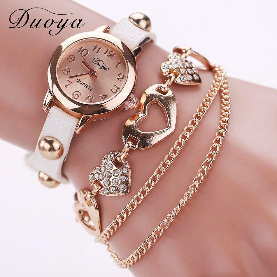 Duoya reloj de cuarzo de las señoras de las mujeres de cuero de negocios Correa наручные часы Casual pulsera Simple En Cuir Montre-pulsera de reloj de pulsera