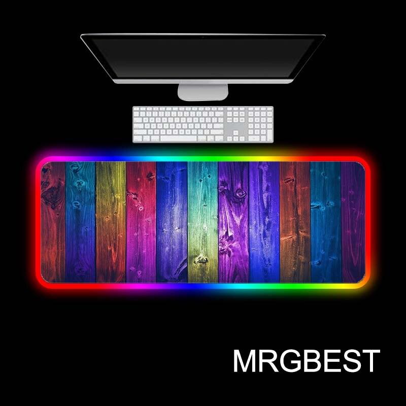 MRGBEST color púrpura rayas juegos RGB grande almohadilla de ratón de Anime Pad Led retroiluminación teclado de escritorio