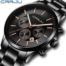 Reloj cronógrafo de acero inoxidable para hombre, marca de lujo crrhu, reloj deportivo a prueba de agua, negro, reloj de visualización de fecha, reloj Masculino