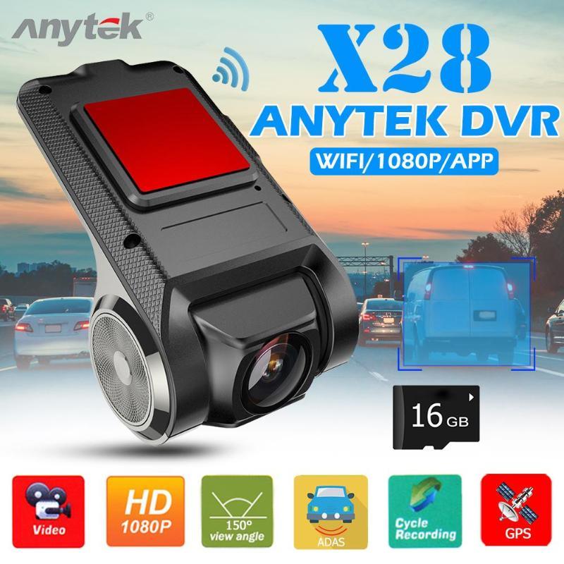 Anytek X28 объектив Dashcam Автомобильная dvr камера вращающаяся линза WiFi ADAS 150 Full HD 1080P Dashboard камера рекордер + 16GB TF карта