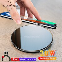 Amzish 30 Вт Qi Беспроводное зарядное устройство  для iPhone 12, 11 Pro, Xs Max, Mini, X, Xr, 8, Samsung s8, s9, s10, note