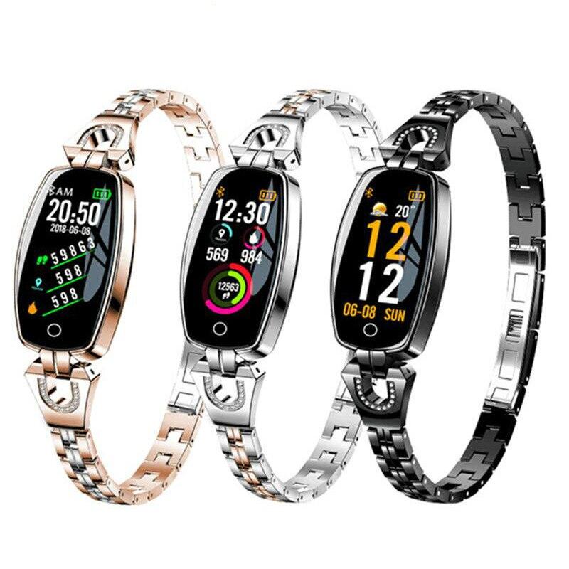 2019 Women Lady Fashion Smart Wristband Heart Rate Blood Pressure Smart Bracelet H8 Fitness Tracker Smart Watch Band Female Girl