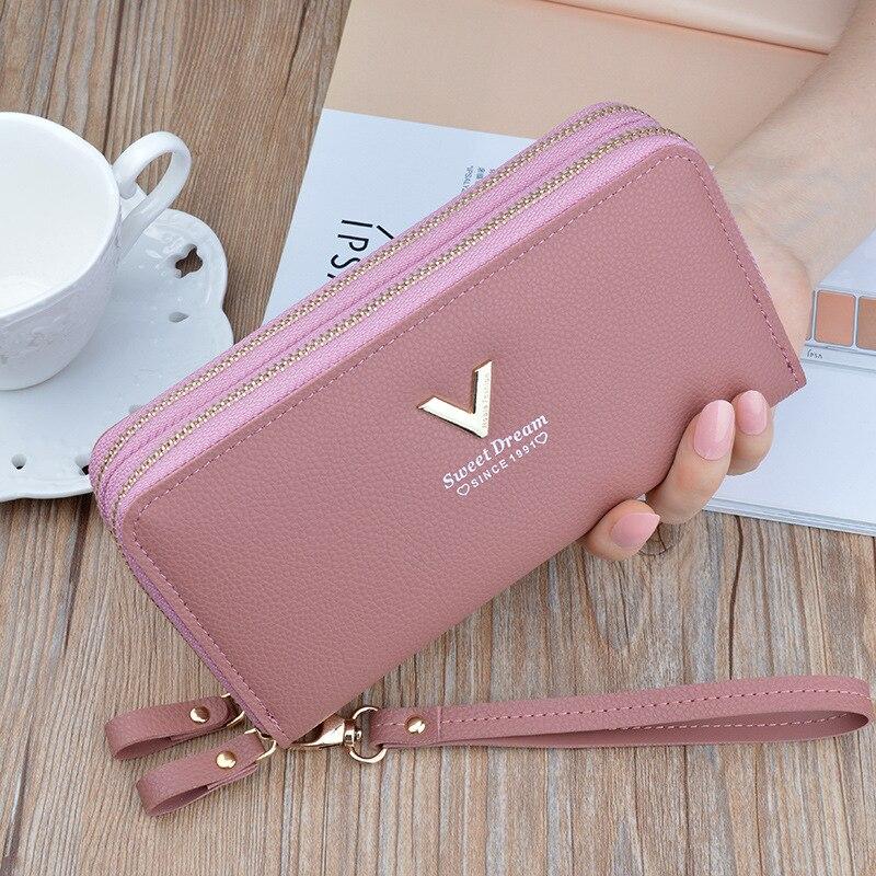 Long Women's Wallet Female Purses Zipper Coin Purse Card Holder Wallets Female Pu Leather Clutch Mon