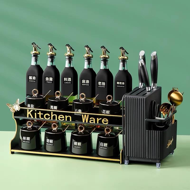 المطبخ التوابل خزان مجموعة بهار زجاجة برطمان توابل الملح الحاويات وعاء السكر التوابل المطبخ أدوات تخزين حامل المطبخ