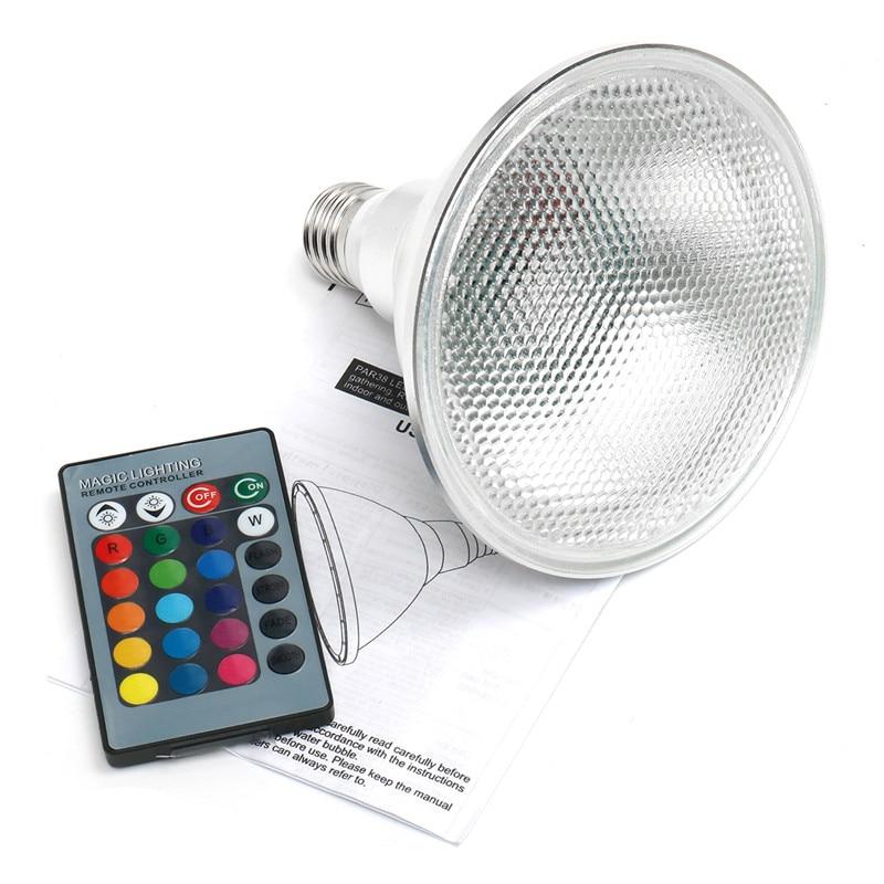 Foco LED RGB AC85-265V E27 bombilla de escenario mágico regulable PAR38 bombilla de foco de exterior de 20W con Control remoto