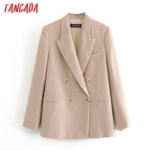 Blazer Tangada liso caqui para mujer, chaqueta elegante de manga larga para mujer, blazer Ropa de Trabajo para mujer, trajes formales 3H609