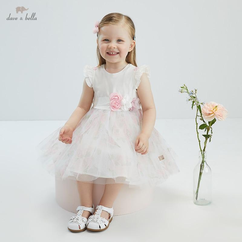 DB17422 ديف بيلا الصيف طفلة لطيف القوس الأزهار طباعة فستان أطفال موضة فستان الحفلات الاطفال الرضع لوليتا الملابس
