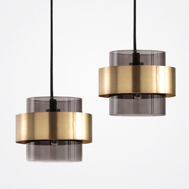 LukLoy-مصباح معلق LED زجاجي حديث ، فاخر ، لون ذهبي ، تركيبات إضاءة