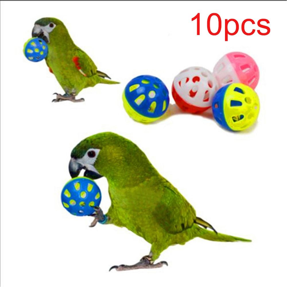 10бр. Играчка за папагал цветна куха топка подвижна камбана, играчка за птици папагал кокатил забавни играчки