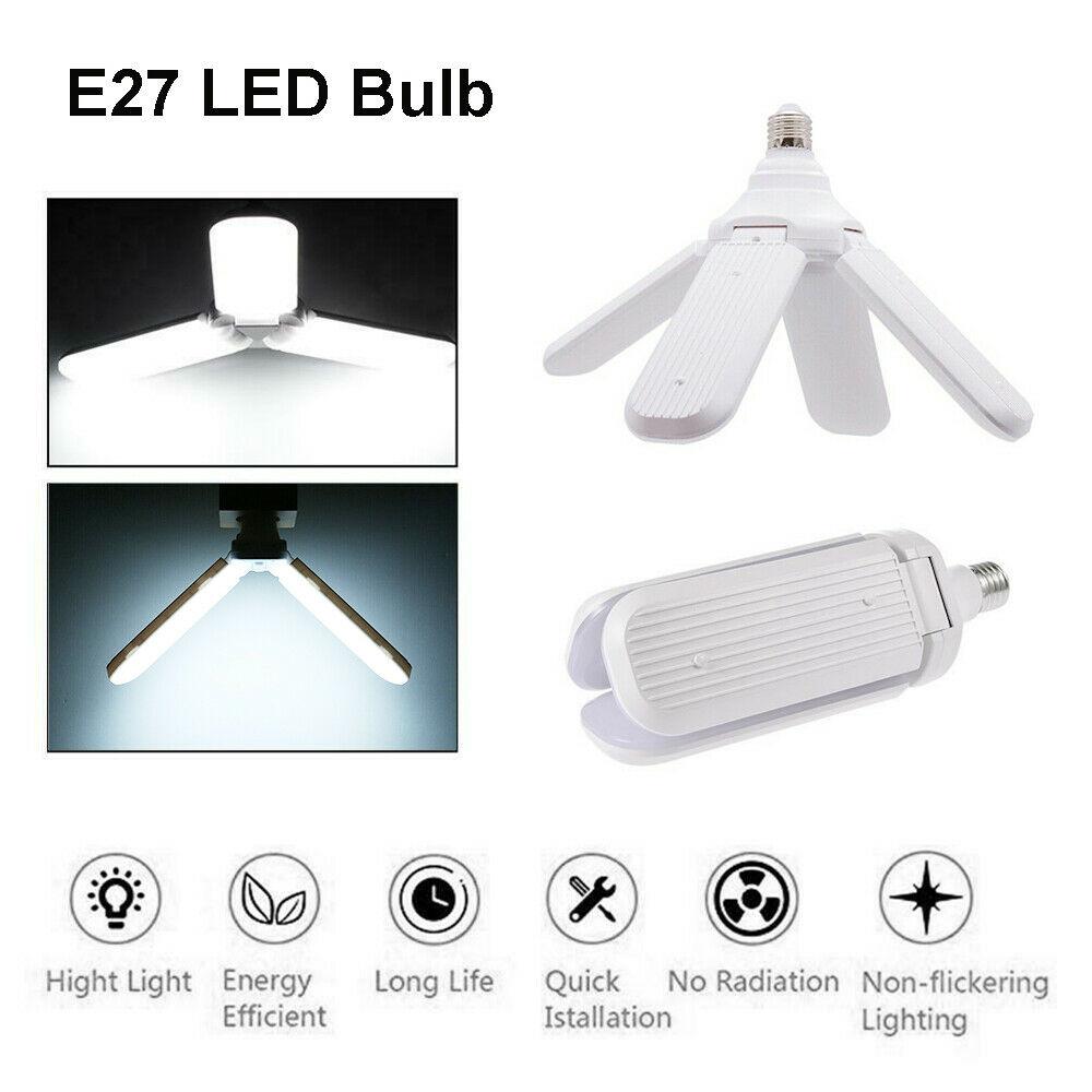 Bombilla LED 45W E27 95-265V 60W 30W garaje de casa lámpara de techo de alto brillo de ahorro de energía hoja de ventilador plegable ángulo ajustable