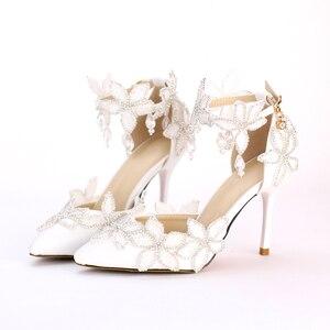 White Lace Flower Rhinestone Bridal Shoes High Heel Crystal Shoes high heel vintage kawaii shoes cosplay loli women shoes