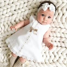 Bow infantile bébé filles robes de fleurs robes de baptême nouveau-né bébés vêtements de baptême princesse anniversaire blanc bébé filles robe