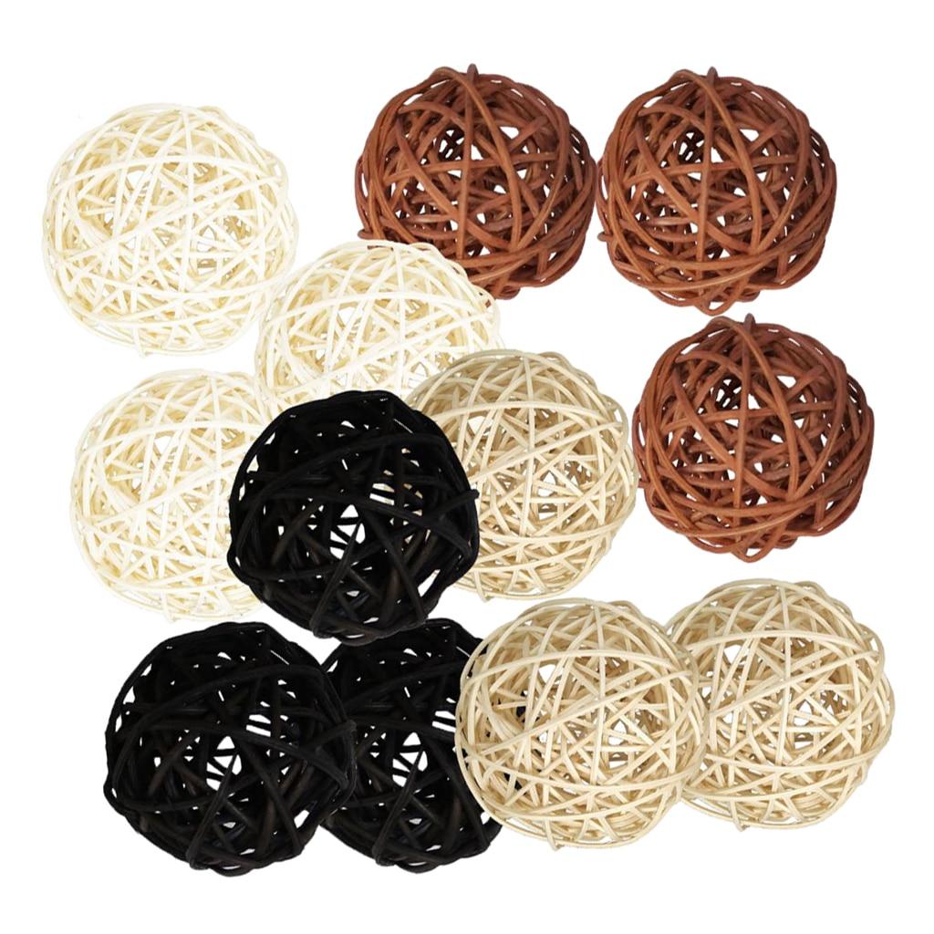 Bolas de mimbre de ratán mezcladas de 12 Uds., adornos de decoración, mesa de fiesta de boda, 5cm