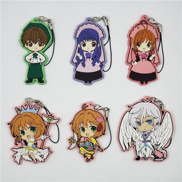 Chaveiro de borracha bonito do anime, chaveiro de borracha bonito do anime kinomoto sakura yue uchito daidouji tomoyo li syaoral touya