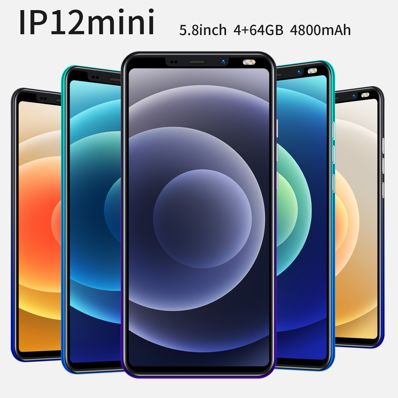 IP12 Mini 5.8 Inch شاشة كاملة الهاتف الذكي Android10 4GB RAM 64GB ROM 8 + 16 ميجابكسل 8 Core ثنائي الشريحة إصبع الوجه فتح الهاتف المحمول