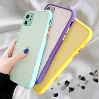 mint simple matte bumper phone case for iphone 11 pro xr x xs max 12 6s 6 8 7 plus shockproof soft silicone clear case cover