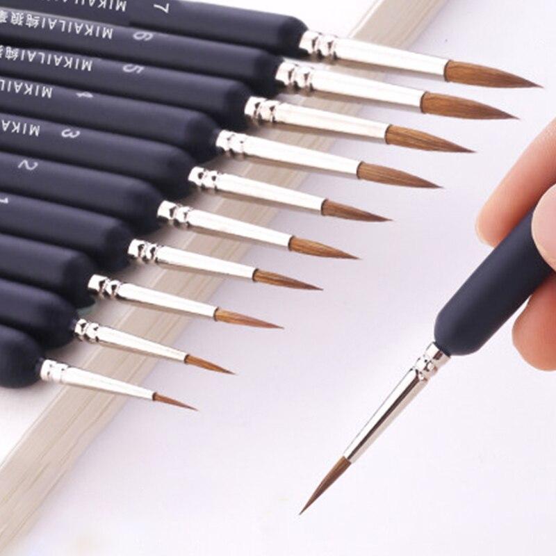 MIKAILAN Pelo de lobo cepillo de pintura a mano pintado línea de gancho pluma punta redonda miniatura cepillo para dibujo Gouache pincel para óleo