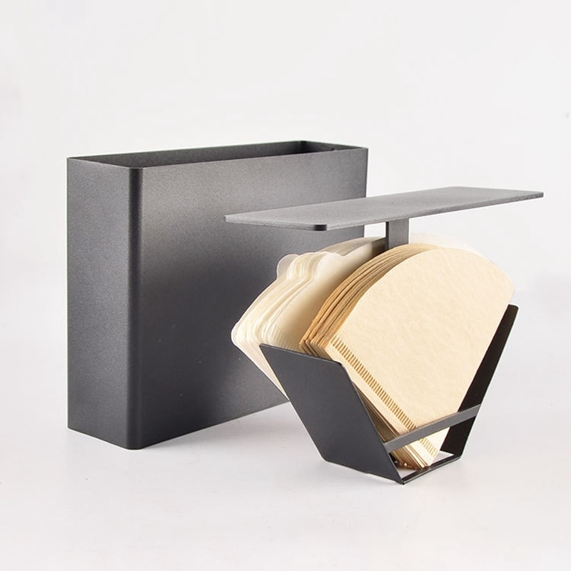 طوي المحمولة الفولاذ المقاوم للصدأ اليد يخمر القهوة V60 مخروط ورق فلتر حامل ورق فلتر القهوة ورق فلتر حامل ، أسود 2021 جديد