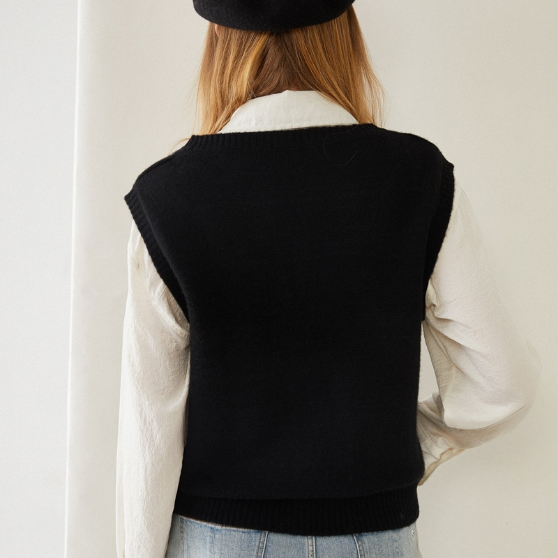 SHUCHAN England Style  Women Knitted Vest V-Neck Single Breasted Sweater Women Spring/Autumn Free Shipping Items Clothes enlarge