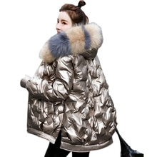 Winter Solid Parkas for Woman Long Thick Puffer Jacket Women Loose Fur Hooded Padded Cotton Jackets