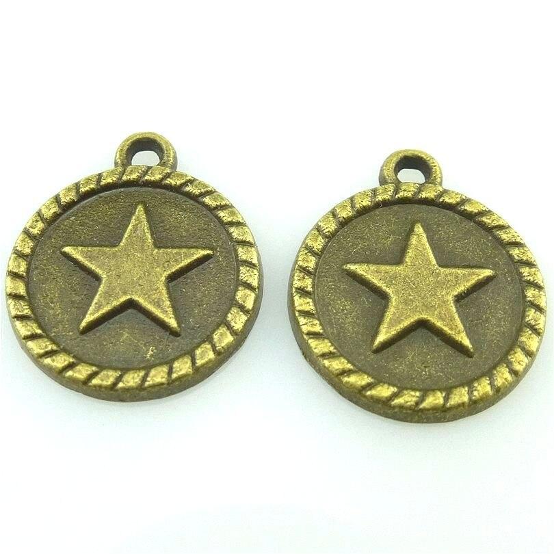 10 Uds 18,5*15,5mm estrella antigua de bronce colgante de encanto redondo para DIY collar fabricación de joyas artesanal 15816