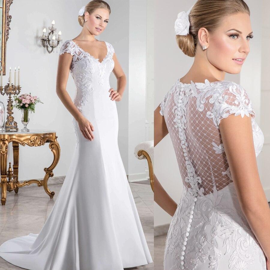 Vestido de novia blanco satinado con escote en V, vestido de novia...