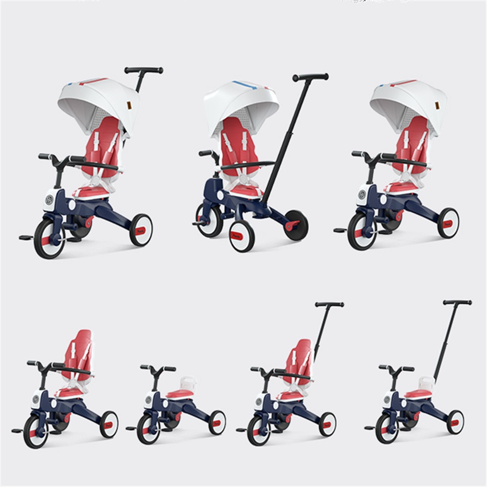 Luxury Baby Stroller Multifunctional Children's Tricycle Can Be Folded Two-way 1-7 Years Old 7 IN 1 Bicycle Good Quality enlarge