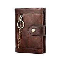 vintage men wallets genuine leather hasp zipper large capacity cowhide purse female