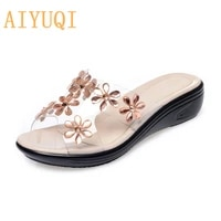aiyuqi womens slippers wedge with large size 41 42 43 new shiny flowers womens slides non slip casual fashion mom slippers