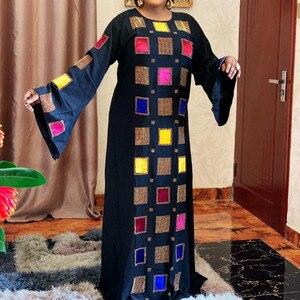 Women Loose Dresses O Neck Printed Flare Sleeves Diamonds Maxi Long Vestidos Female Plus Size African Fashion Autumn Robes New