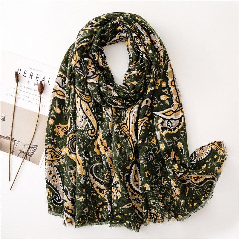 Otoño moda ejército verde anacardo Floral franja de viscosa chal bufanda señora estampado suave pashmina estola de Bufandas Mujer Hijab musulmán