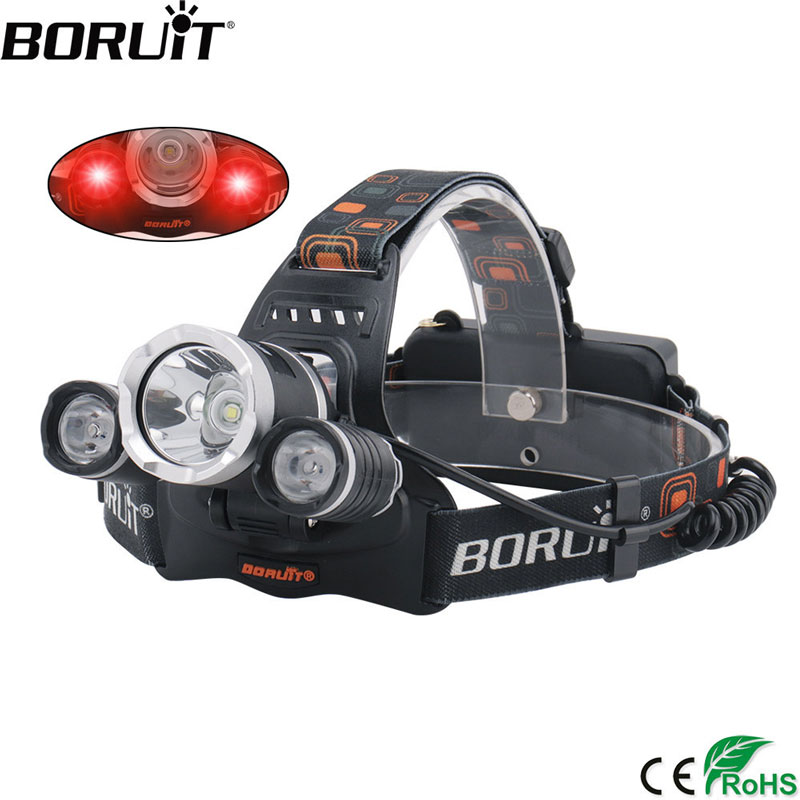 boruit rj 5000 xml t6 r2 headlight 4 mode headlamp power bank head torch hunting camping flashlight 18650 battery light BORUiT RJ-3000 XML T6 +2*XPE Red LED Headlamp 3-Mode Waterproof Headlight USB Charger 18650 Head Torch for Camping Hunting