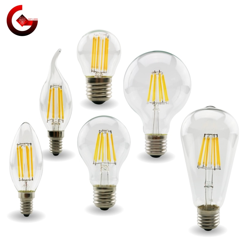 E27 E14 Retro Edison ​LED Filament Bulb Lamp 220V-240V Light Bulb C35 G45 A60 ST64 G80 G95 G125 Gl