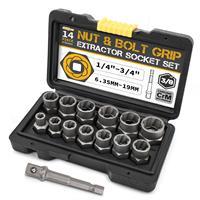 Экстрактор поврежденных винтов Cr-Mo, 14 шт., для удаления болтов и гаек, набор ручных инструментов 6,35-19 м в ящике для инструментов