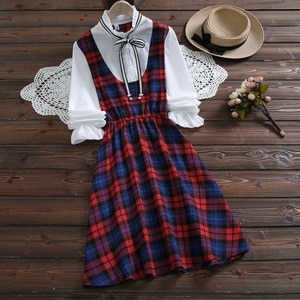 Женское винтажное платье из хлопка и льна, длинное платье в клетку с бантом и длинным рукавом, весна-осень