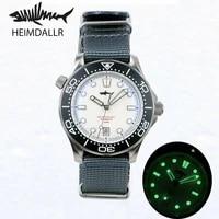 heimdallr mens diving watch sapphire white dial luminous titanium case 200m water resistance nh35 automatic movement wristwatch