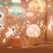 Angle Starry Sky Projector Night Light Music Box LED Lamp Chargeable Rotate Universe Ocean Colorful